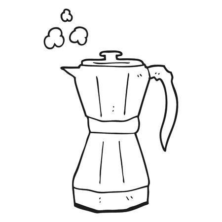 stovetop: freehand drawn black and white cartoon stovetop espresso maker Illustration