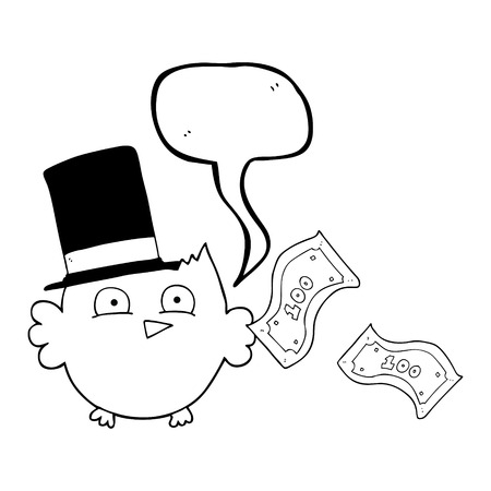 wealthy: freehand drawn speech bubble cartoon wealthy little owl with top hat