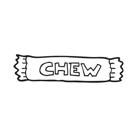 chew: freehand drawn black and white cartoon chew Illustration