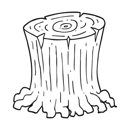 freehand drawn black and white cartoon big tree stump