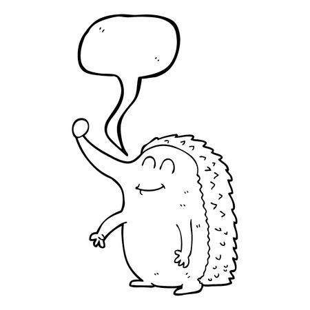 cartoon hedgehog: freehand drawn speech bubble cartoon hedgehog
