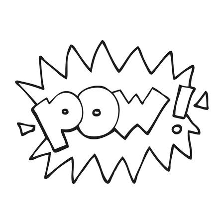 pow: freehand drawn black and white cartoon pow symbol Illustration