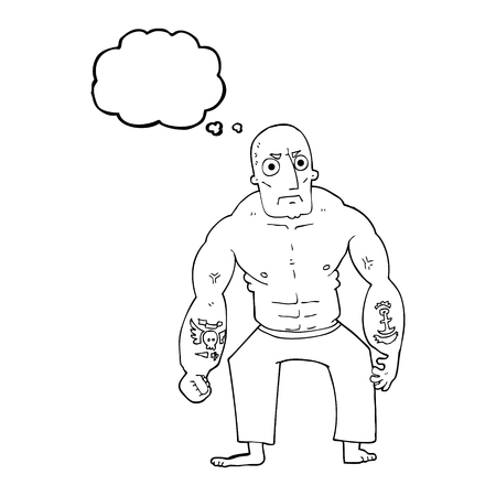 tough: freehand drawn thought bubble cartoon tough man