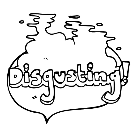 disgusting: disgusting freehand drawn speech bubble cartoon Illustration
