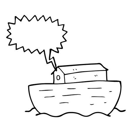 arca a mano alzada discurso elaborado burbuja de dibujos animados de Noé Vectores