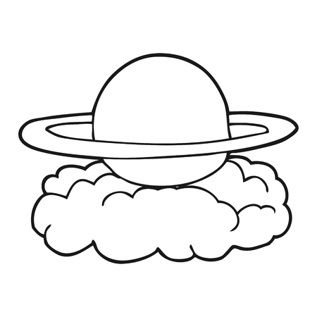 alien clipart: freehand drawn black and white cartoon alien planet