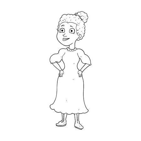 black woman: freehand drawn black and white cartoon victorian woman in dress