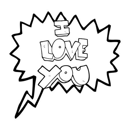 i love you symbol: I love you freehand drawn speech bubble cartoon symbol Illustration