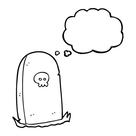 thought bubble: freehand drawn thought bubble cartoon grave Illustration