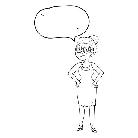 freehand drawn speech bubble cartoon woman wearing glasses