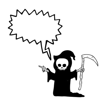 scythe: freehand drawn speech bubble cartoon death with scythe Illustration