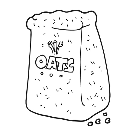 oats: freehand drawn black and white cartoon oats