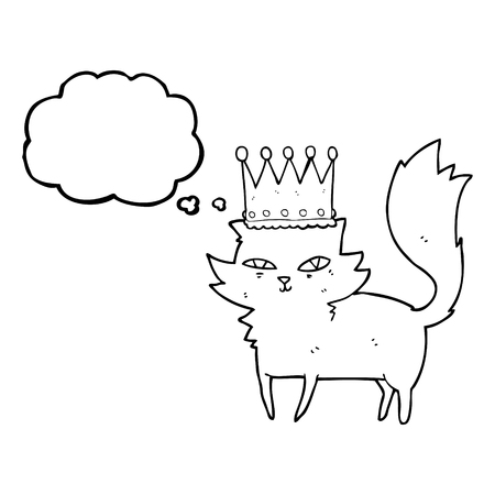 upper class: freehand drawn thought bubble cartoon posh cat
