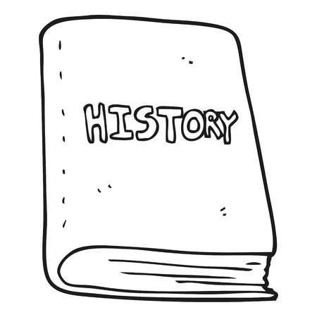 history book: freehand drawn black and white cartoon history book