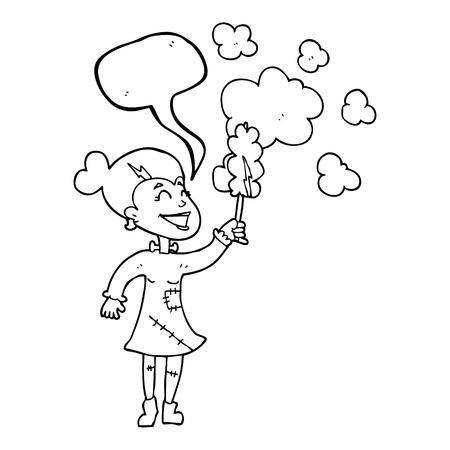 dusting: freehand drawn speech bubble cartoon zombie woman dusting