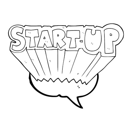 startup: freehand drawn speech bubble cartoon startup symbol