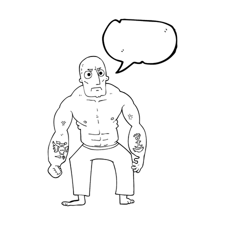 tough: freehand drawn speech bubble cartoon tough man Illustration