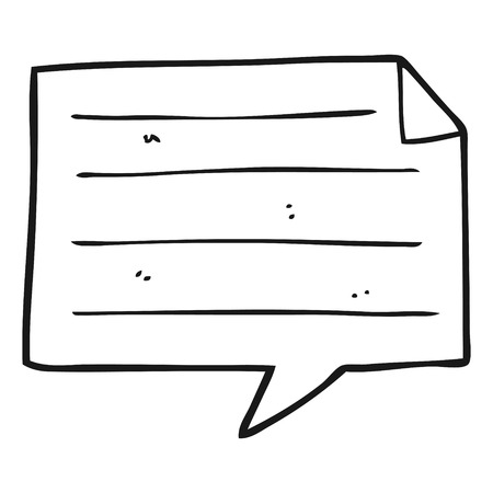 taking notes: freehand drawn black and white cartoon notes speech bubble Illustration