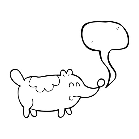 fat dog: freehand drawn speech bubble cartoon small fat dog Illustration