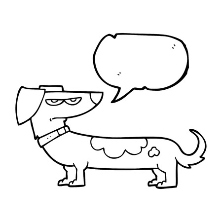 irritated: freehand drawn speech bubble cartoon annoyed dog