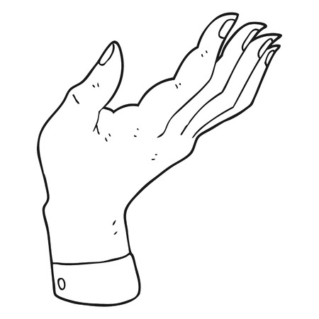 hand raised: freehand drawn black and white cartoon open hand raised palm up Illustration