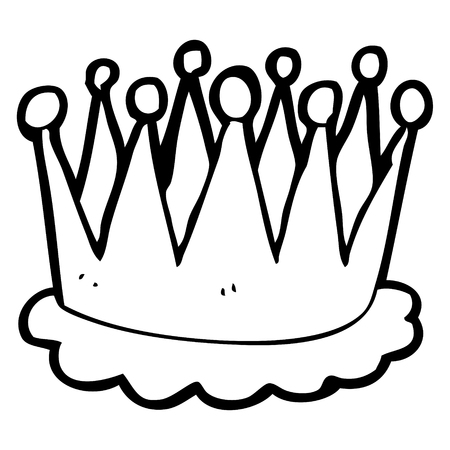 freehand drawn black and white cartoon crown