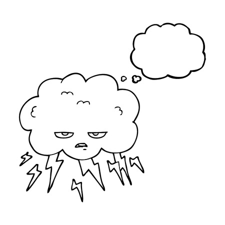 thundercloud: freehand drawn thought bubble cartoon thundercloud Illustration