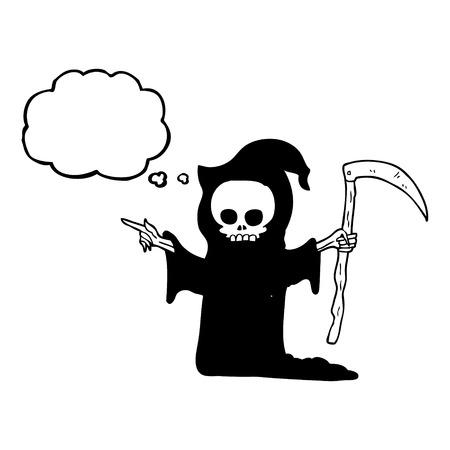 the scythe: freehand drawn thought bubble cartoon death with scythe