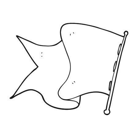 white flag: freehand drawn black and white cartoon white flag Illustration