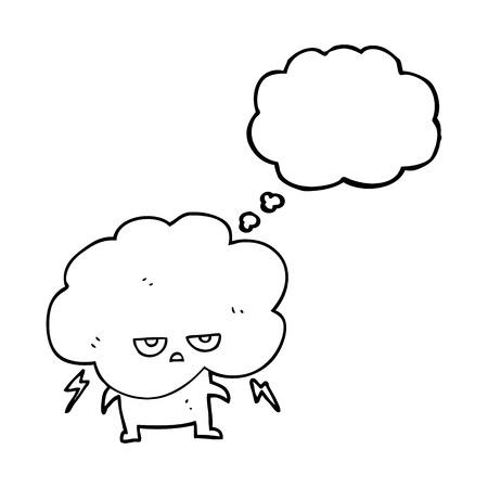 stormcloud: freehand drawn thought bubble cartoon raincloud