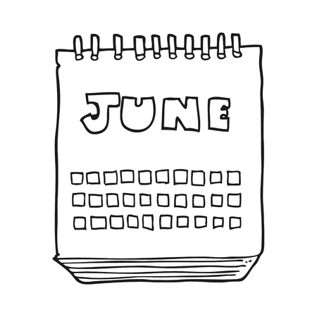 freehand drawn black and white cartoon calendar showing month of