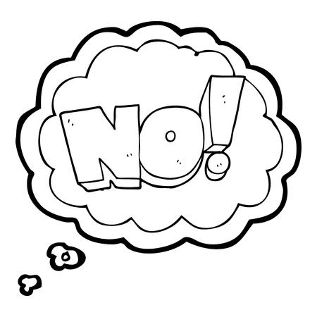 shout: freehand drawn thought bubble cartoon NO! shout