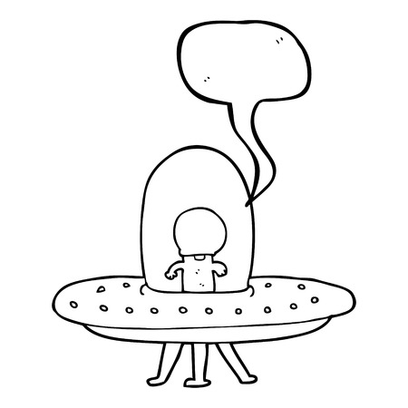 saucer: freehand drawn speech bubble cartoon flying saucer Illustration