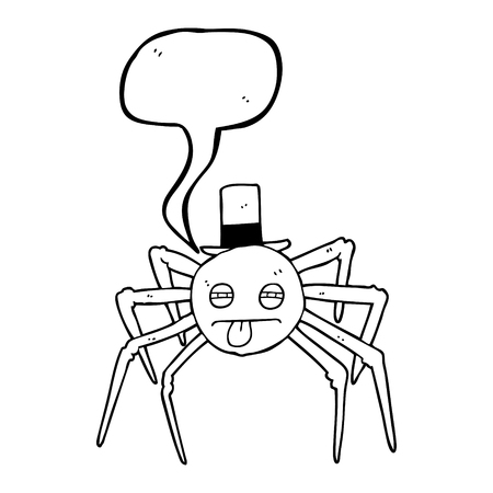 tarantula: freehand drawn speech bubble cartoon halloween spider in top hat Illustration