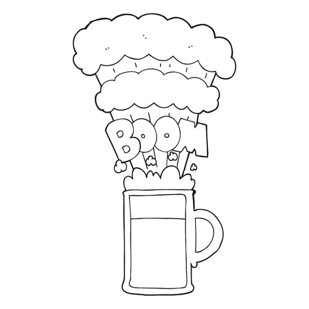 tankard: freehand drawn black and white cartoon exploding beer