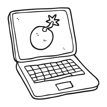 laptop screen: freehand drawn black and white cartoon laptop computer with error screen