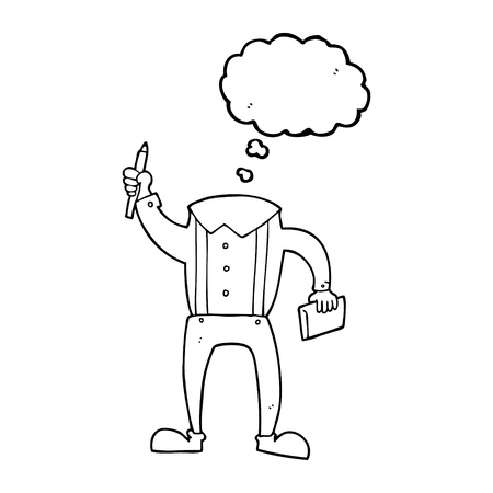 bubble pen: freehand drawn thought bubble cartoon headless body with notepad and pen (add own photos)