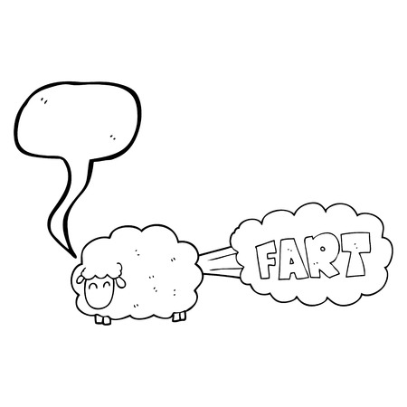 farting: freehand drawn speech bubble cartoon farting sheep