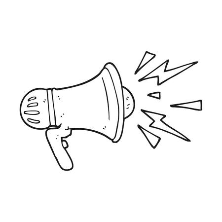 loudhailer: freehand drawn black and white cartoon loudhailer