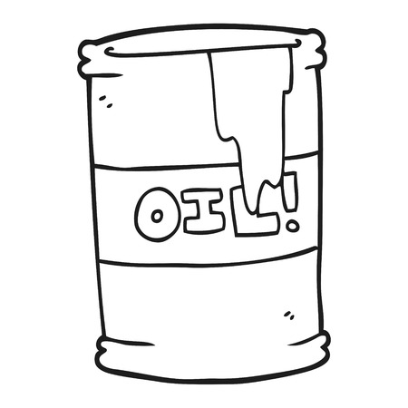 oil drum: freehand drawn black and white cartoon oil drum Illustration