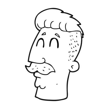 hair cut: freehand drawn black and white cartoon man with hipster hair cut