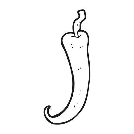 chilli pepper: freehand drawn black and white cartoon chilli pepper