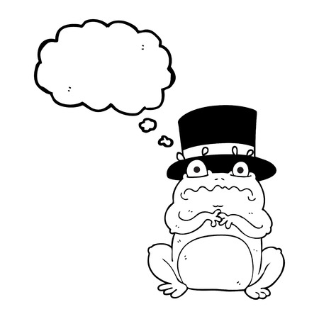 wealthy: freehand drawn thought bubble cartoon wealthy toad