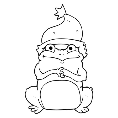 christmas frog: freehand drawn black and white cartoon frog wearing christmas hat Illustration