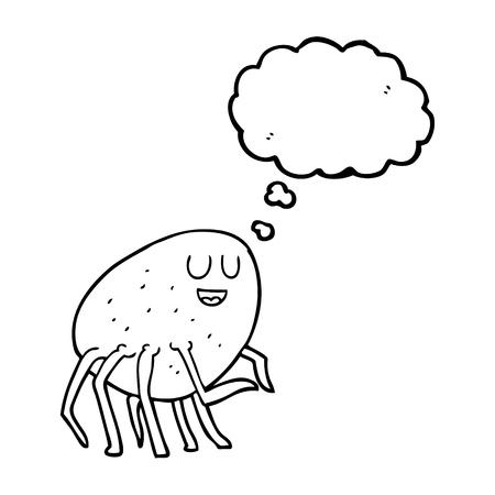 cartoon tick: freehand drawn thought bubble cartoon tick Illustration