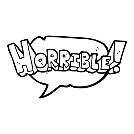 horrible: freehand drawn speech bubble cartoon word horrible