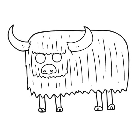 hairy: freehand drawn black and white cartoon hairy cow