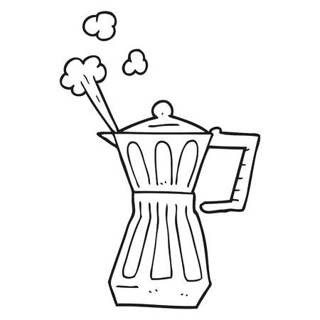 stovetop: freehand drawn black and white cartoon espresso stovetop maker Illustration