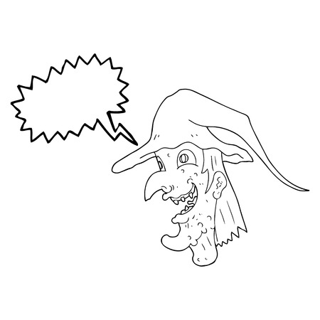 cackling: freehand drawn speech bubble cartoon cackling witch