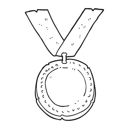 freehand drawn black and white cartoon medal